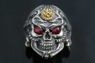 Japanese Samurai Skull Gold & Silver 2 Tone Ring MR-129G