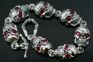 Jumbo Red Eyed Skull Link Silver Bracelet BR-040
