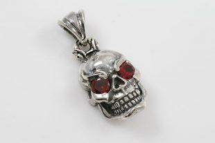 Jumbo Red Eyed Skull Silver Pendant PT-135