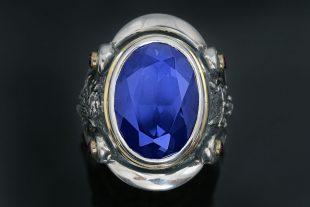 King Ring Heraldic Rampant Lion Blue Corundum Silver Ring MR-119B