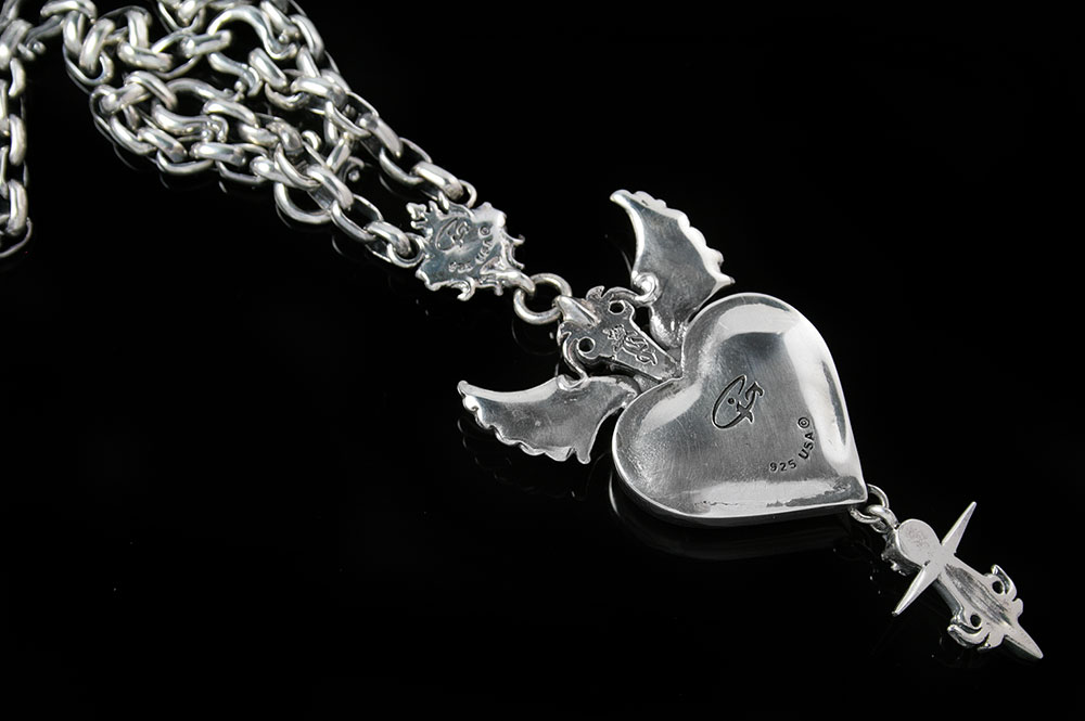 Kingdom Of Love Crowned Heart with Wings Sterling Silver Necklace N-013