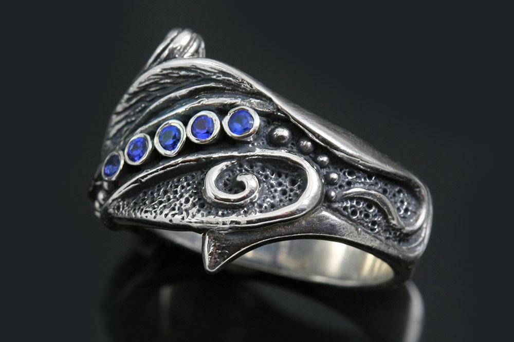 Landish Floral Style Silver CZ Ring LR-109