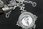 Leonidas Lion Head Garnet Beads & Stingray Skin Silver Necklace NK-142