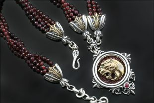 Leonidas Lion Head Garnet Beads & Stingray Skin Silver Necklace NK-142