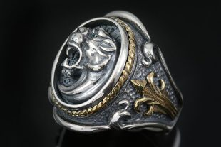 Leonidas Spartan Symbol Fascinating Gold & Silver Ring MR-126G