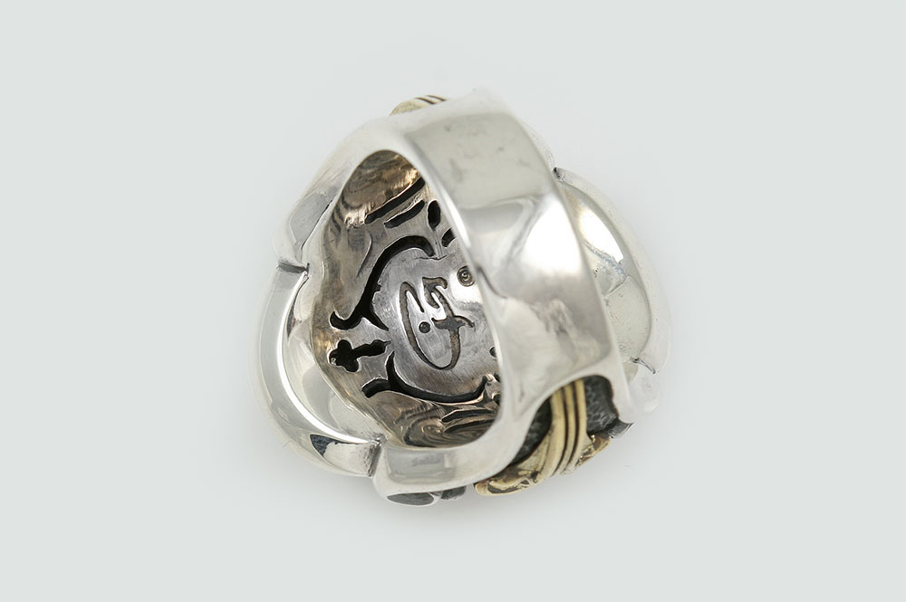 leonidas spartan symbol fascinating gold silver ring mr 126g