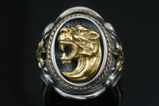 Leonidas Spartan Symbol Fascinating Gold & Silver Ring MR-126P