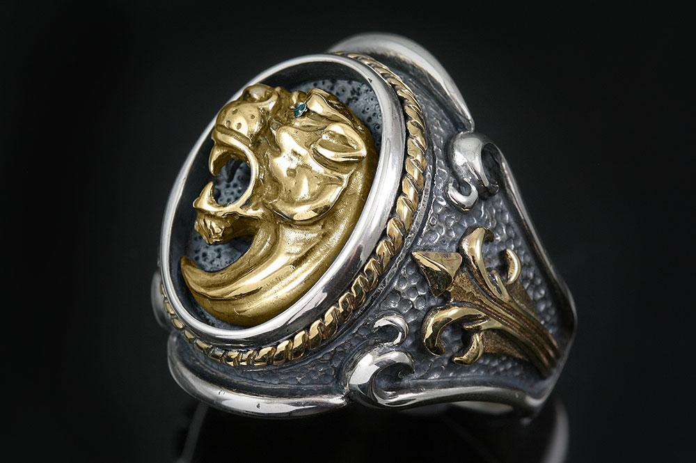 Leonidas Spartan Symbol Fascinating Gold Silver Ring Mr 126p