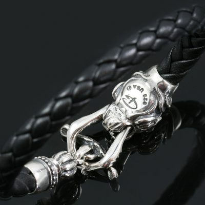 Leorda Ruby Eyed Panther Head Bolo Leather Braided Silver Bracelet BR-045