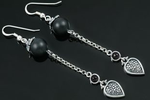 Liaro Onyx Beads Silver Heart Drop Earrings ER-008
