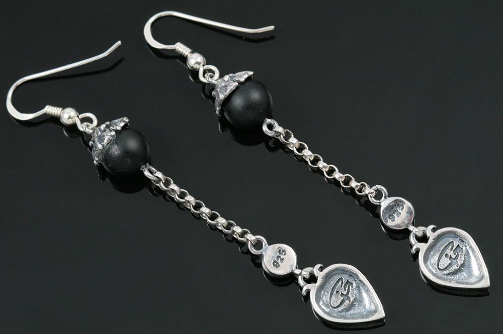 Liaro Onyx Beads Silver Heart Drop Earrings ER-008
