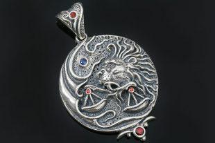 Libra Lion Holding Scales Silver Pendant PT-153