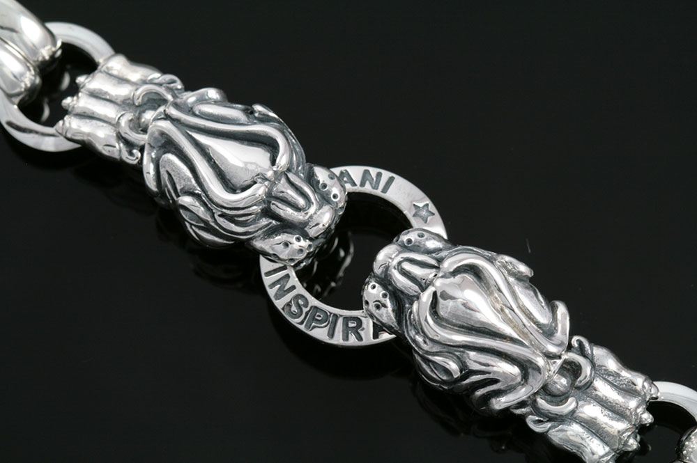 Lion Heads And Paws Symbolic Sterling Silver Bracelet BR-008