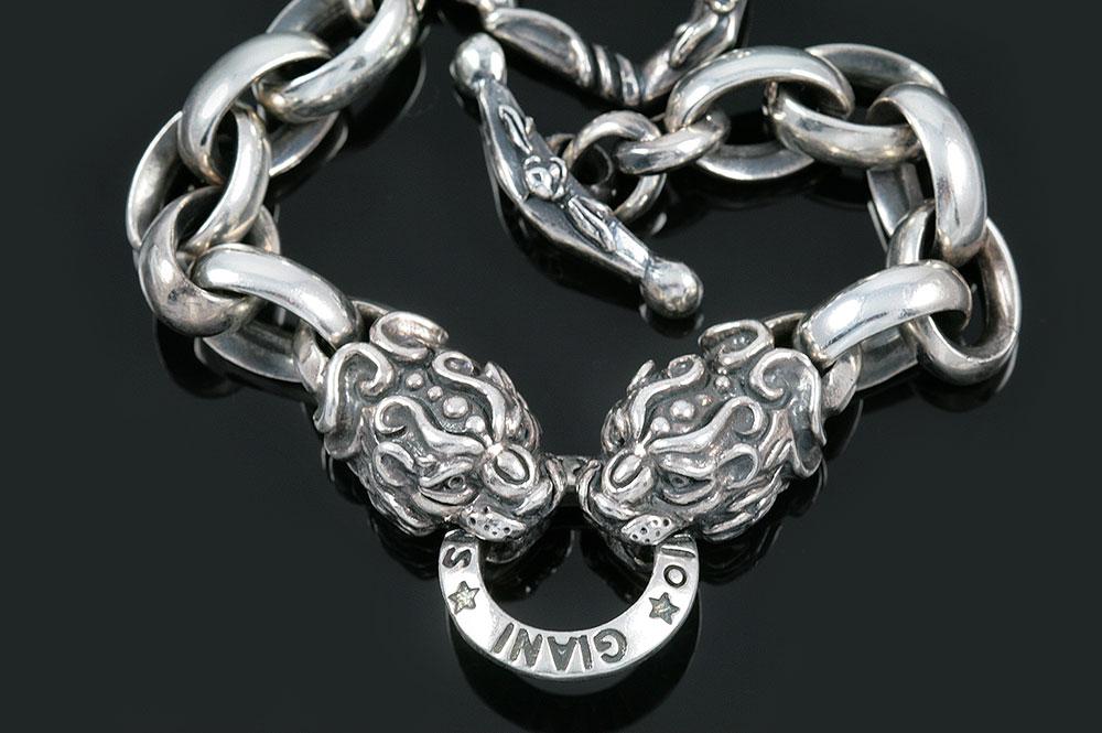 Lion Heads Symbolic Sterling Silver Bracelet BR-010