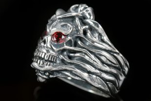 Lotus & Skull Silver Ring MR-010