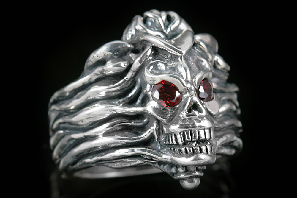 Lotus & Skull Silver Ring MR-010