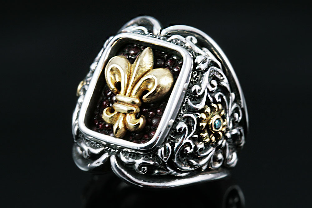 Ludovic Baroque Style Silver Ring MR-024
