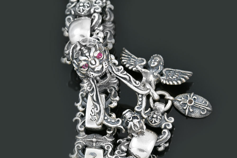 Lurda Panther Head Silver Bracelet With Angel & Skull Closure BR-046