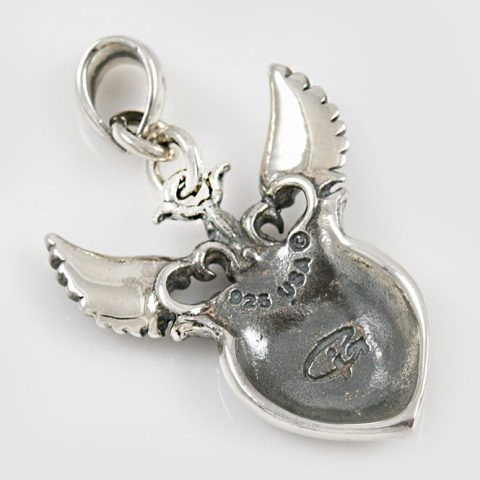 Madina Heart and Wings Silver Charm Pendant CH-100