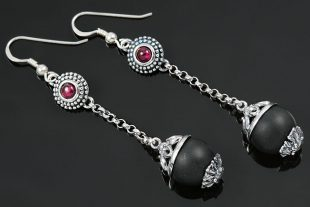 Margo Matte Onyx Beads & Red Ruby Silver Drop Earrings ER-019