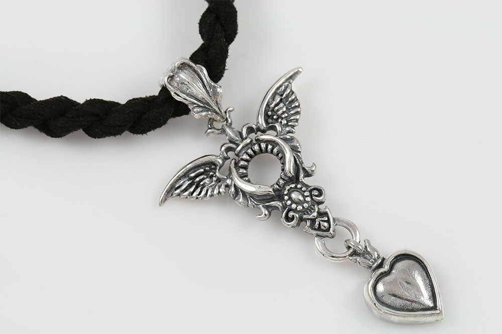 Marloni Heart and Wings Silver Pendant PT-115