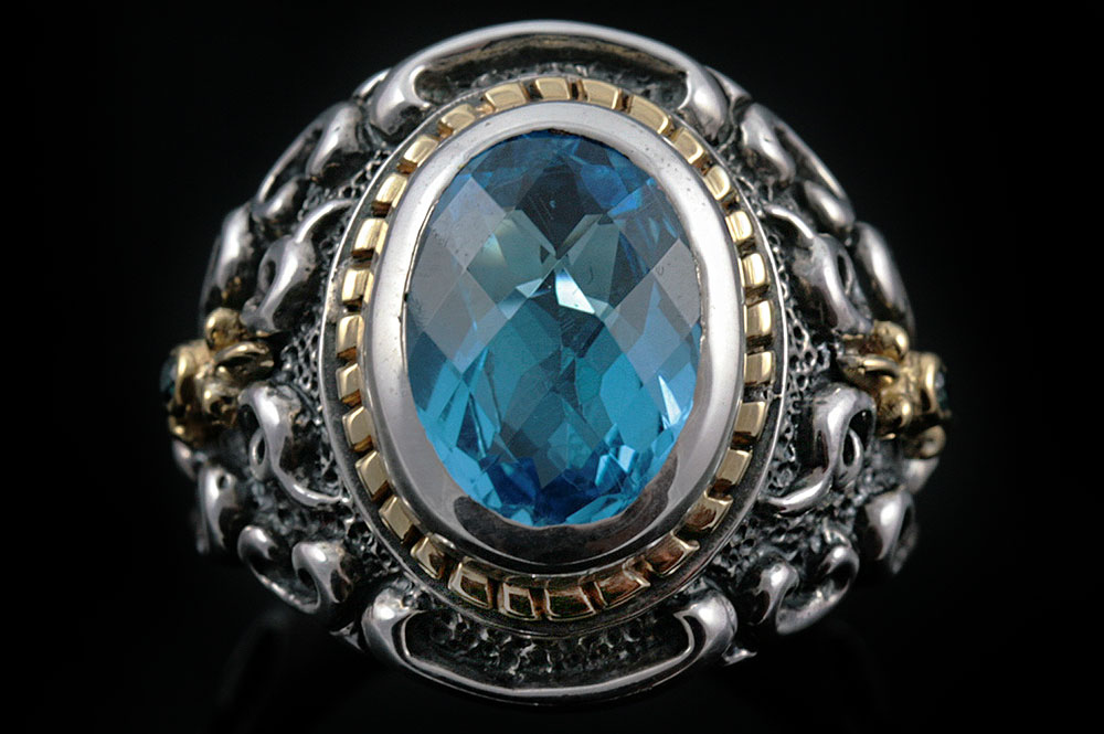 Marquis Blue Topaz Silver Ring MR-033T