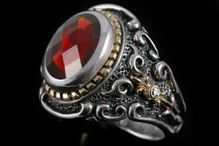 Marquis Garnet Silver Ring MR-033G