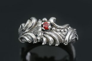 Mars Floral Style Red Garnet Silver CZ Ring LR-110