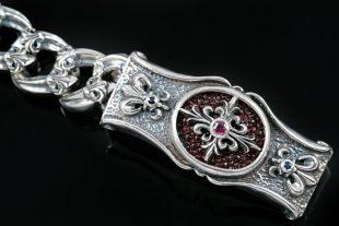 Maximus Cross Chain Link Silver Bracelet BR-003