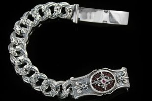 Maximus Cross Chain Link Silver Bracelet BR-003