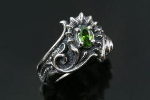 Melia Mythological Floral Oxidized Silver CZ Ring LR-108