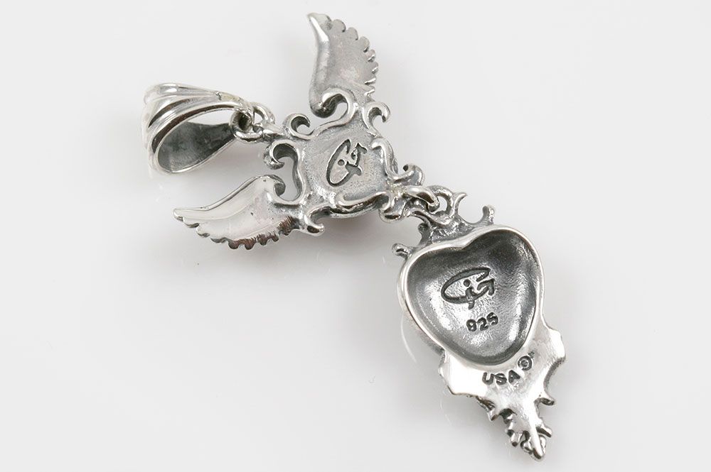 Melina Wings and Cross Heart Cabochon Ruby Silver Pendant PT-095