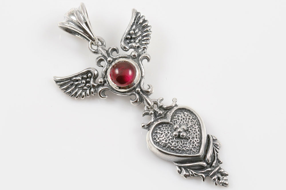Melina wings and cross heart cabochon ruby silver pendant pt 095 aloadofball Choice Image
