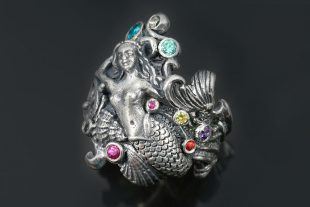 Mermaid Colorful Unique Oxidized Silver Ring LR-106