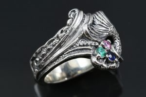 Mermaid Tail Colorful Cz Oxidized Silver Ring Lr 105