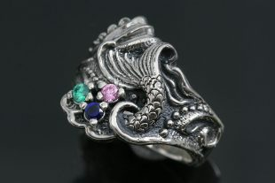 Mermaid Tail Colorful CZ Oxidized Silver Ring LR-105