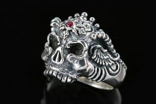 Monster Skull Gothic Ruby Oxidized Silver Ring MR-013