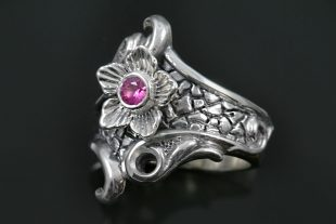 Nargis Flower Antique Style Oxidized Silver Ring LR-115