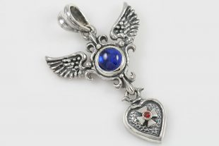 Narina Wings and Cross Heart Cabochon Sapphire Silver Pendant PT-096