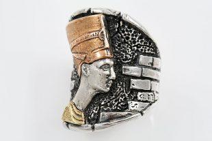 Nefertiti Egyptian Modern 2 Tone Oxidized Silver Ring LR-139G