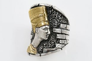 Nefertiti Egyptian Modern Bronze or 18K Gold Oxidized Silver Ring LR-139B