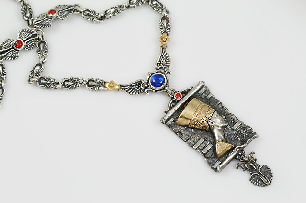 Nefertiti Egyptian Two Tone Silver & Bronze Necklace with Red Garnet & Blue Cabochon Corundum Stones NK-160