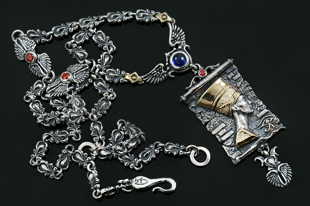 Nefertiti Egyptian Two Tone Silver & Bronze Necklace with Red Garnet & Blue Cabochon Corundum Stones NK-160