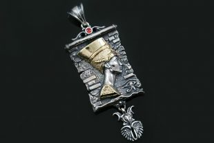 Nefertiti Egyptian Two Tone Silver & Bronze Pendant PT-161
