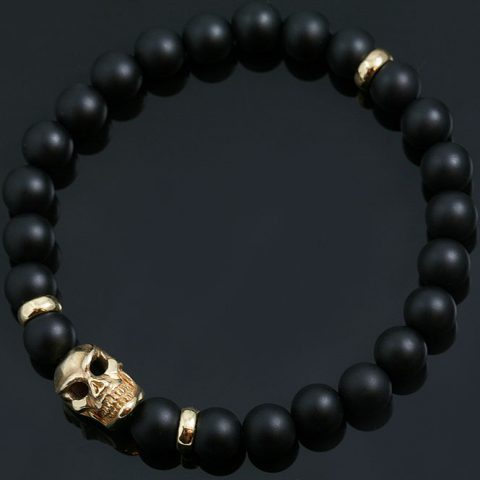 Neron Italian Bronze Skull 8MM Matte Black Onyx Beaded Bracelet BB-054B