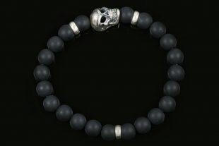 Neron Sterling Silver Skull Matte Black Onyx Beaded Bracelet BB-054