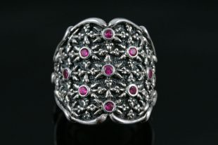 Notre Dame Sterling Silver Ring With Rubies MR-057