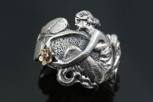 Nymph Mermaid and Flower Two Tone Oxidized Silver Ring LR-107