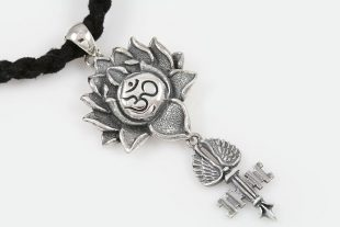 Om Symbol Lotus Key With Wing Silver Pendant PT-114