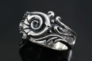 Orgina Abstract Floral Oxidized Silver Ring LR-104